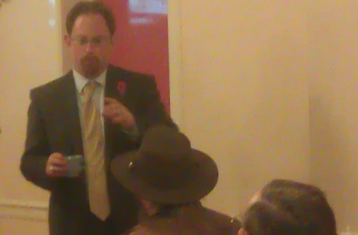 Julian Huppert MP Drinking Tea Before Speaking At The 2011 Cambridge Cycling Campaign AGM