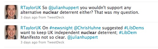 RTaylorUK On #newsnight  @ChrisHuhne suggested #LibDems want to keep UK independent nuclear deterrent; #LibDem Manifesto not so clear. @julianhuppert