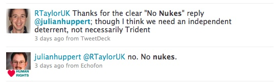julianhuppert  @RTaylorUK I would scrap Trident. We don't need it, it costs too much and it weakens our moral authority with other countries.