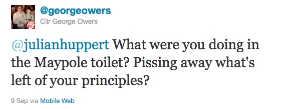 @julianhuppert What were you doing in the Maypole toilet? Pissing away what's left of your principles?