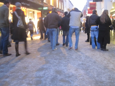 Ice on Cambridge Pavements - Petty Cury