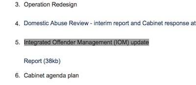 IOM Update item highlighted on screenshot of meeting agenda.