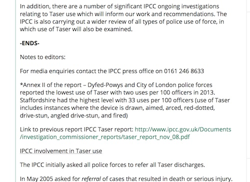 screenshot of http://www.ipcc.gov.uk/news/ipcc-review-taser-use-and-complaints-published