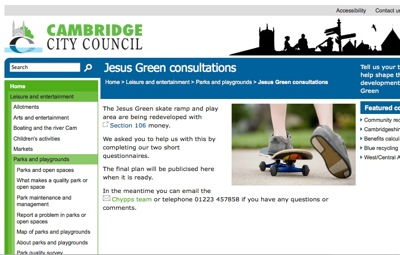 City Council webpage on Jesus Green Consultations