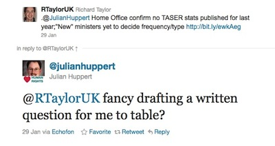Julian Huppert MP offeres to table a written question on the lack of TASER use statistics.