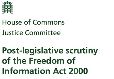 Justice Select Committee Post-Legislative Scrutiny of FOI Report:
