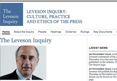 Leveson Inquiry Screenshot of Homepage