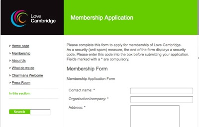 Screenshot of the Membership Application form for Love Cambridge