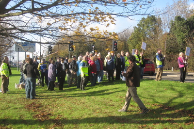 More than 50 People Joined a Walk Around Marshall Airport in Cambridge on the 15th of November to Express Support for the Company Continuing to Fly from the Airport.
