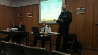 Sgt Jon Capes of Cambridgeshire police presenting a report on youth antisocial behaviour in Melbourn.