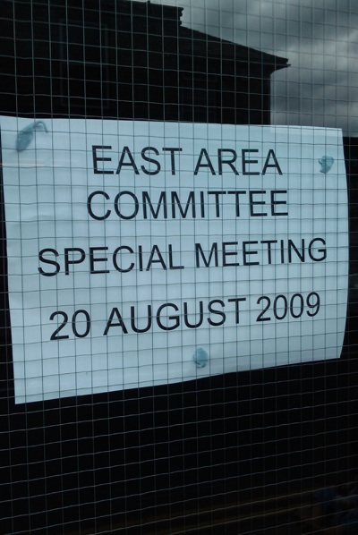 Notice showing location of East Area Committe
