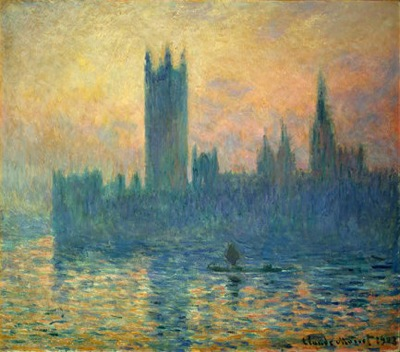 Le Parlement de Londres, soleil couchant, Claude MONETÊ