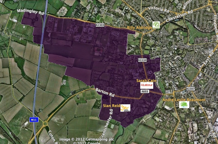 Newnham map with candidates addresses