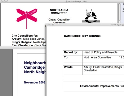 Montage of Papers from the December 2008 Cambridge City Council North Area Committee