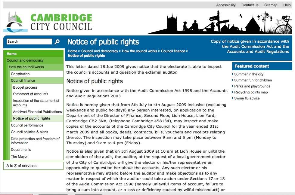 Notice of public rights to inspect the council's accounts, receipts etc.