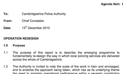 The Chief Constable's December 2010 Report to Cambridgeshire Police Authority Introducing Operation Redesign.
