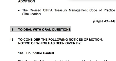 Oral Questions - Agenda Screenshot.