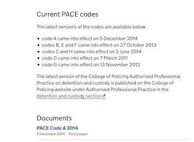 Screenshot of current versions webpage showing the 5 December 2014 version of PACE Code A as the current one