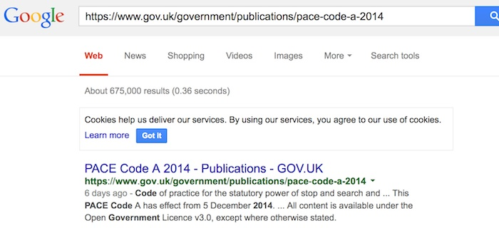 Google search results for https://www.gov.uk/government/publications/pace-code-a-2014 showing page in cache stating ' This PACE Code A has effect from 5 December 2014. '