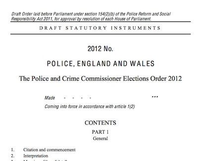 The Police and Crime Commissioner Elections Order 2012 (Draft)
