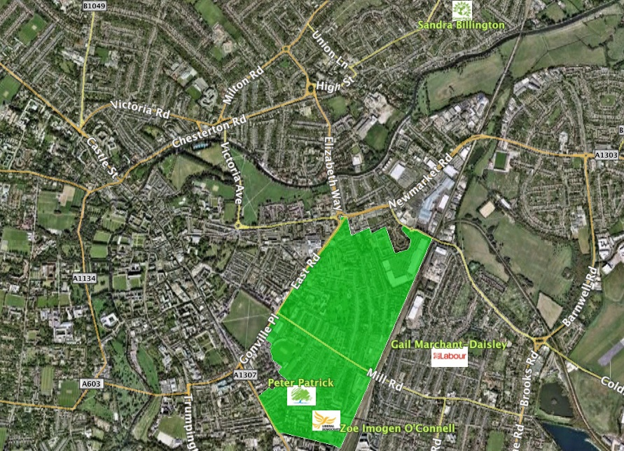 Petersfield map with candidates addresses
