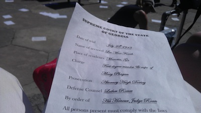 Photo of court list distributed during play