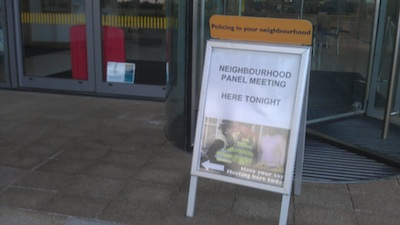 Sign Outside SCDC HQ August 2012 Saying Neighbourhood Panel Meeting Here Tonight