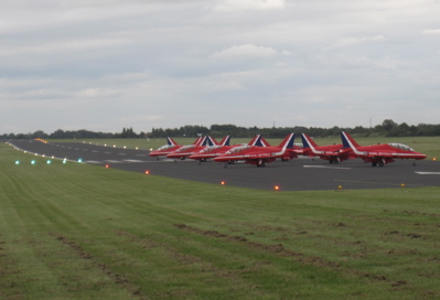 Red Arrows at Marshall Airport, Cambridge UK