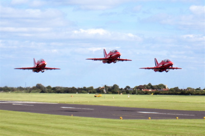 After lunch the Red Arrows took off again. Ten jets lined up on the runway, all left within seconds of each other, with three groups of three taking off simultaneously.