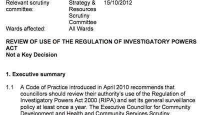 Screenshot of meeting papers for the Cambridge City Council's Strategy and Resources Scrutiny Committee on Monday, 15th October, 2012 5.00 pm