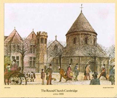 There are proposals to reinstate railings around the Round Church in Cambridge. Image shows church with railings in 1880.