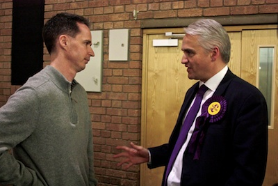Richard Taylor speaking to UKIP Candidate Patrick O'Flynn 2 May 2014
