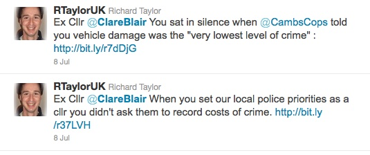 Ex Cllr @ClareBlair You sat in silence when @CambsCops told you vehicle damage was the