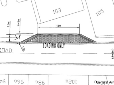 The proposed loading bay for Sainsbury's on Mill Road  - Plan