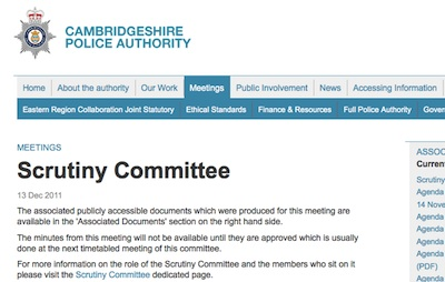 Cambridgeshire Police Authority Scrutiny Committee 13th of December.