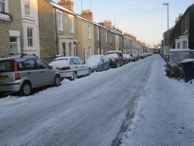 Searle Street is one of many Cambridge streets where both the road and pavements have been coved by a sheet of ice for many weeks this winter.