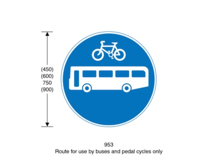 Round blue sign; cycle over a bus