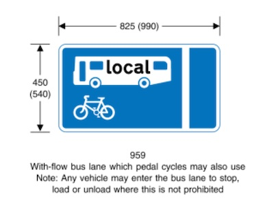Blue sign showing a bus lane, with a cycle and bus symbol in the bus lane