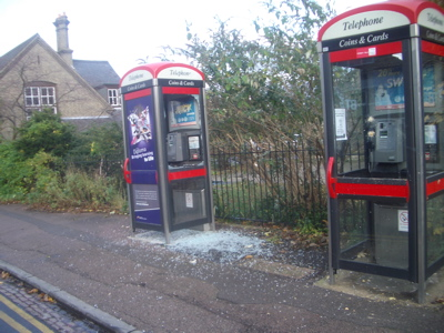 Smashed Phone Box, November 2008