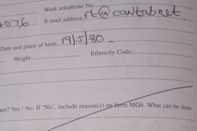Cambridgeshire Police Witness Statement Form Requires Height and Place of Birth of Witnesses.