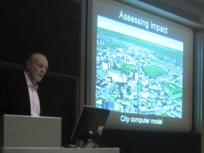 Peter Carolin showed the output of a computer model of the city of Cambridge which is being developed.