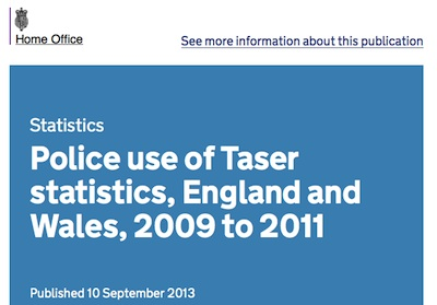 Police use of Taser statistics, England and Wales, 2009 to 2011