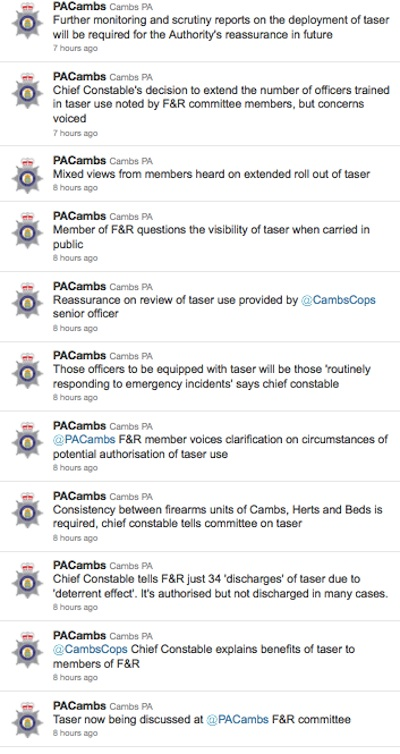 TASER tweets from @PACambs