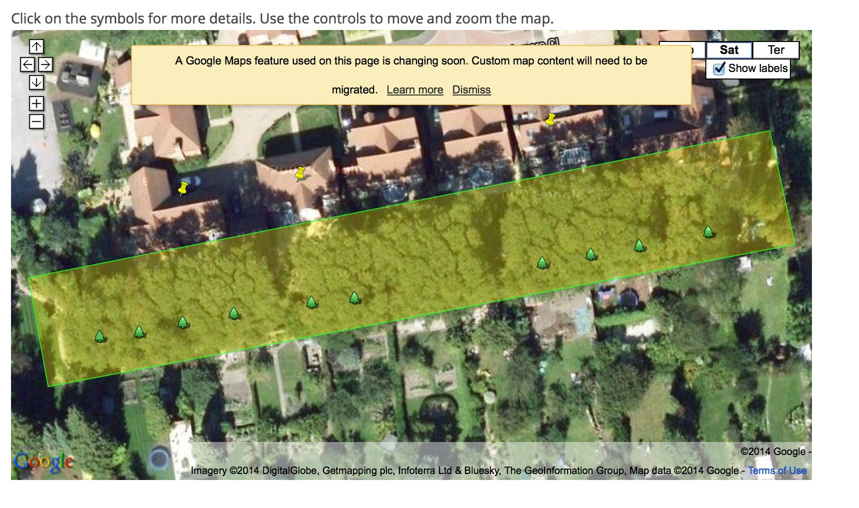 Screenshot of interactive map of the Templemore Close Trees