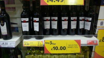 Tesco - 3 for £10 bottles of wine