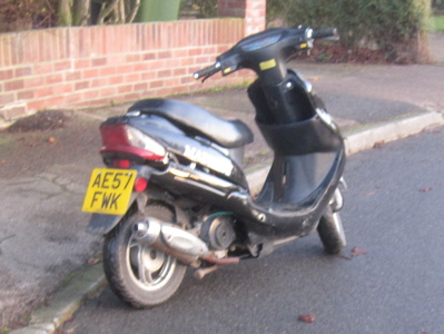 This scooter was being ridden dangerously through Arbury today.