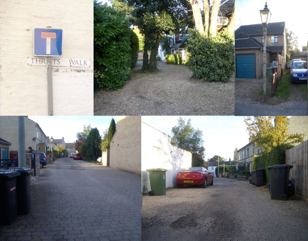 Montage of Photos of Thrifts Walk in Cambridge, showing the state of the road surface, the gas lamp and trees.