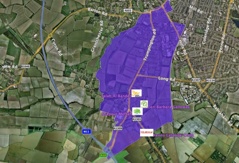 Trumpington map with candidates addresses