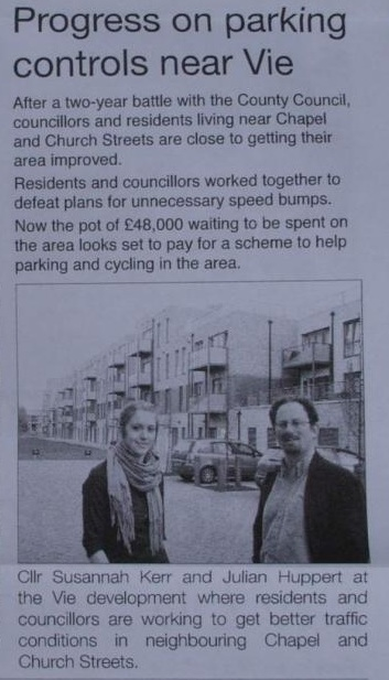 Article in Lib Dem Leaflet saying they're fighting against speed humps on Church Street