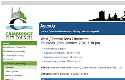 Cambridge City Council webpage for the Agenda for West / Central Area Committee on Oct 28 2010 7:30PM
